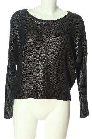 Firetrap Sweter z okrągłym dekoltem czarny-srebrny Melanżowy W stylu casual