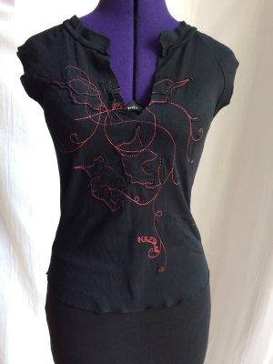 Firetrap T-shirt czarny-czerwony Bawełna