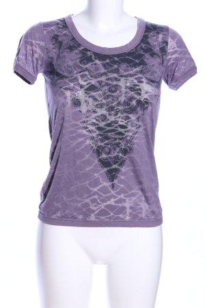 Firetrap T-Shirt lila abstraktes Muster Casual-Look