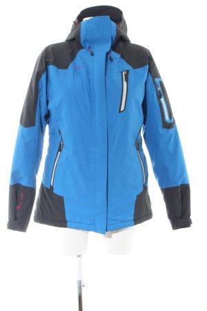 First B Outdoorjacke blau-schwarz Schriftzug gestickt Casual-Look