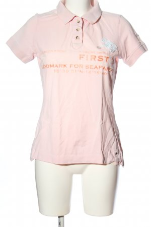First B Polo shirt roze-licht Oranje gedrukte letters casual uitstraling