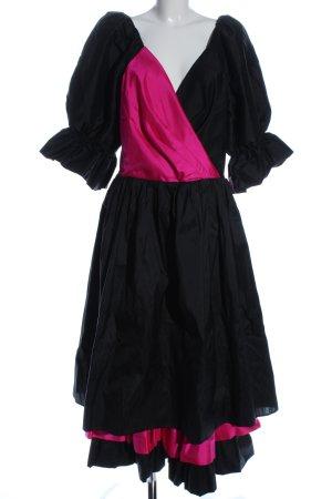 Fischer Sukienka z rękawem balonowym czarny-różowy Ekstrawagancki styl