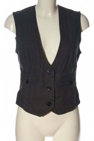 Fishbone Waistcoat brown-black check pattern business style