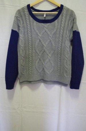Fishbone Blogger Vintage Boho Oversized Pulli Pullover Sweater Jumper Colorblock Strick Zopfmuster