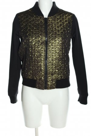 Fishbone Collegejacke schwarz-goldfarben Steppmuster Casual-Look