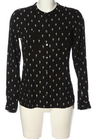 Fishbone Hemd-Bluse schwarz-weiß Allover-Druck Elegant