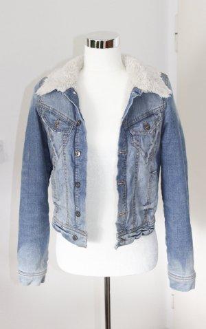 Fishbone Jeansowa kurtka stalowy niebieski Bawełna