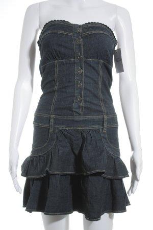 Fishbone Jeanskleid dunkelblau Jeans-Optik