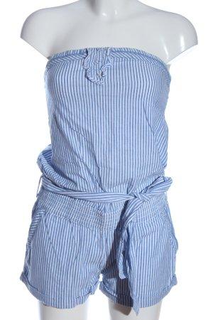 Fishbone Jumpsuit blau-weiß Allover-Druck Casual-Look