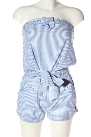 Fishbone Jumpsuit blau-weiß Streifenmuster Casual-Look