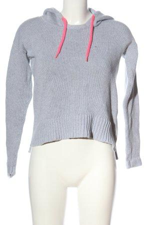 Fishbone Capuchon sweater lichtgrijs kabel steek casual uitstraling