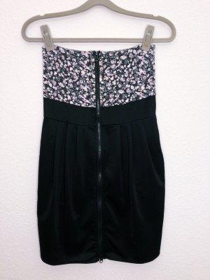 Fishbone Kleid Minikleid Sommerkleid schwarz rosa Blumen Größe S Reißverschluss Damen
