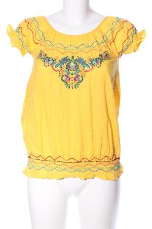 Fishbone Kurzarm-Bluse blassgelb Blumenmuster Elegant