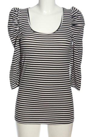 Fishbone Langarm-Bluse weiß-schwarz Streifenmuster Casual-Look