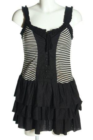Fishbone Minikleid schwarz-weiß Streifenmuster Casual-Look