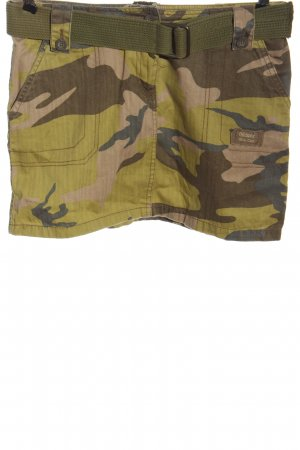Fishbone Mini rok khaki-bruin camouflageprint casual uitstraling