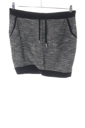 Fishbone Mini rok lichtgrijs-zwart Webpatroon casual uitstraling