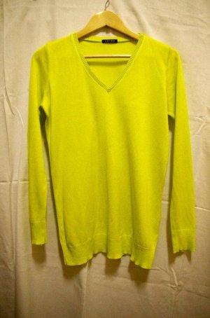 Fishbone Pullover Neonlime V-Ausschnitt Sweater Shirt Longsleeve Sommerpulli Hoodie Boho