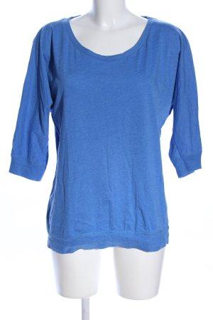 Fishbone Rundhalspullover blau meliert Casual-Look