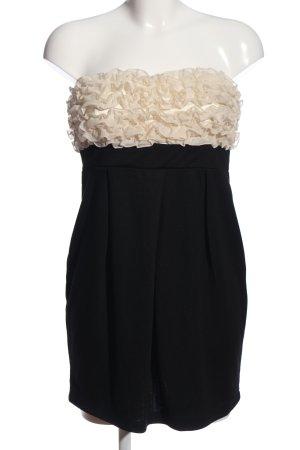 Fishbone schulterfreies Kleid schwarz-creme Elegant