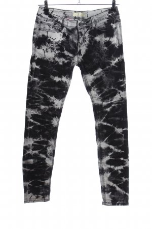 Fishbone Skinny Jeans schwarz-hellgrau Allover-Druck Casual-Look