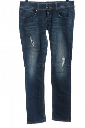 Fishbone Straight-Leg Jeans blau Casual-Look