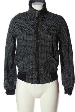 Fishbone Kurtka przejściowa czarny-biały Wzór w kratkę W stylu casual