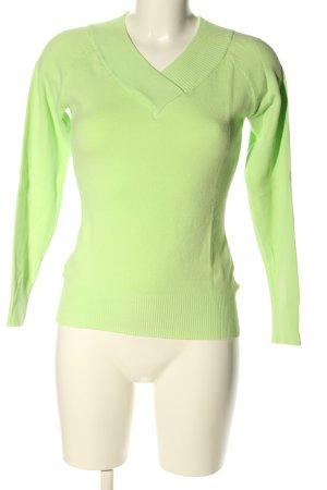 Fishbone V-Ausschnitt-Pullover grün Zopfmuster Casual-Look