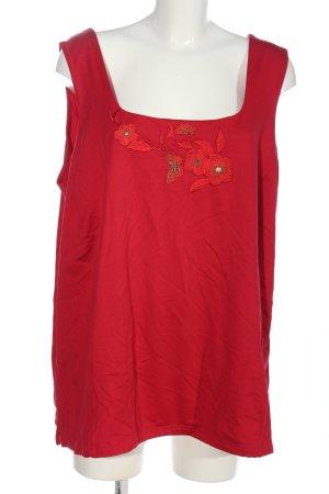 SISIGNORA ärmellose Bluse rot-goldfarben Blumenmuster Casual-Look