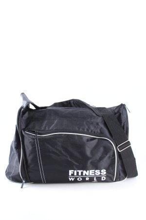 Fitness World Sac de sport bleu-blanc lettrage imprimé style décontracté