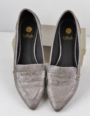 Flach Ballerina Pumps Spitz La Strada Größe 39 Hellgrau Silberfarben Kroko Snake Print College Schuhe