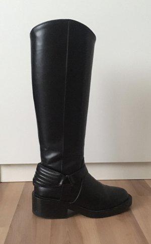 Flache Boots Stiefel Bikerlook Zara Gr. 37 kniehoch