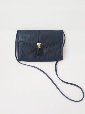Flache Clutch Handtasche, schwarz-gold, lederoptik