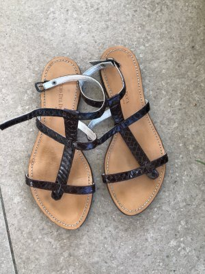 Duccio del Duca T-Strap Sandals dark brown-light brown