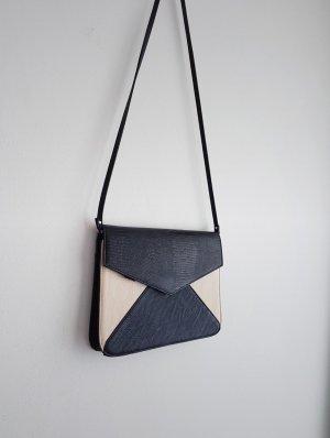 Flache Tasche creme schwarz