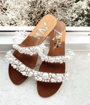 Zara Sandalias tipo clog color bronce-blanco