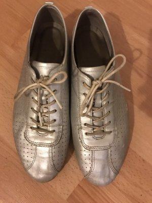 FlacheLeder Sneakers Siber Metallic Aluminium Glanz Ecco 40