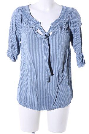 Flair Blusa alla Carmen blu-bianco motivo a righe stile casual