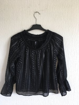 Flame Carmen blouse zwart-zilver