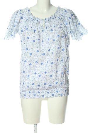 Flame Kurzarm-Bluse weiß-blau Allover-Druck Casual-Look