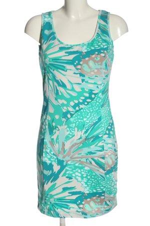 Flame Robe fourreau turquoise-blanc cassé motif abstrait style décontracté