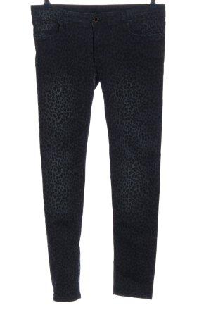 Flame Pantalon cinq poches bleu-noir motif léopard style décontracté