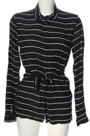 Flame Hemd-Bluse schwarz-wollweiß Streifenmuster Business-Look