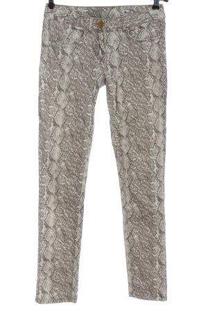 Flame Jeans taille basse blanc cassé-brun imprimé allover style décontracté