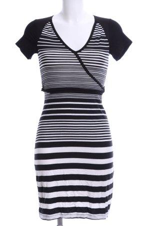 Flame Jerseykleid schwarz-weiß Streifenmuster Casual-Look