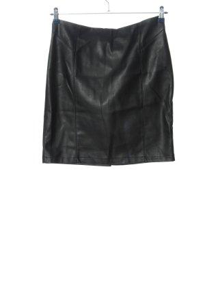 Flame Jupe en cuir synthétique noir style décontracté