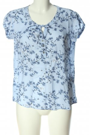 Flame Kurzarm-Bluse blau-schwarz Allover-Druck Casual-Look