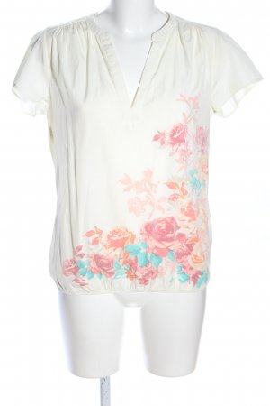 Flame Kurzarm-Bluse Blumenmuster Casual-Look