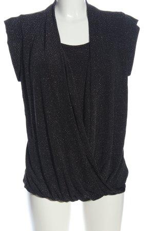 Flame Blouse à manches courtes noir Motif de tissage style décontracté
