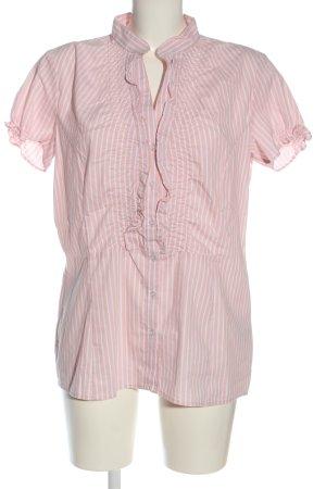 Flame Camicia a maniche corte rosa-bianco motivo a righe stile casual